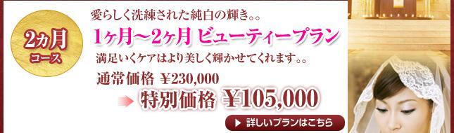2ヵ月コース 1ヵ月~2ヵ月ビューティープラン 通常¥230,000→特別価格¥105,000