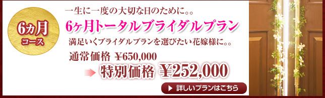 6ヵ月コース 6ヵ月トータルブライダルプラン 通常¥650,000→特別価格¥252,000
